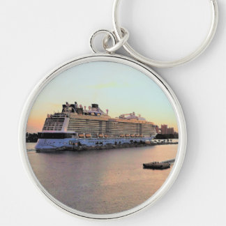 Nassau Harbor Daybreak with Cruise Ship Keychain