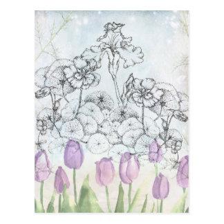 Nasturtium Iris Pen and Ink Flower Botanical Art Postcard