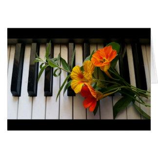 Nasturtiums and verbena on piano greeting card