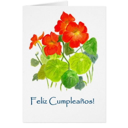Nasturtiums Birthday Card - Spanish Greeting