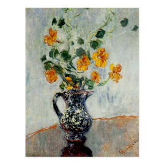 Nasturtiums in a Blue Vase by Monet Postcard