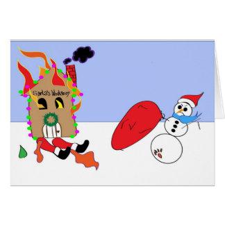 Nasty the Snowman Thief Christmas Greeting Card