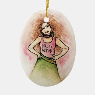 nasty woman ceramic oval ornament