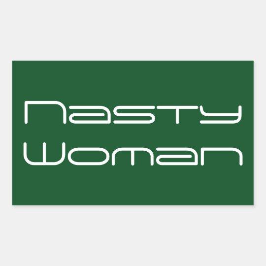 Nasty Woman, futuristic white text on green Sticker