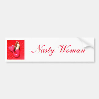 nasty woman heart-tail mermaid bumper sticker