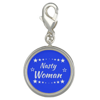 Nasty Woman Round Charm, Silver Plated Photo Charms