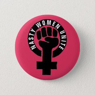 """""""Nasty Women Unite"""" Feminist Fist Women's Rights 2 Inch Round Button"""