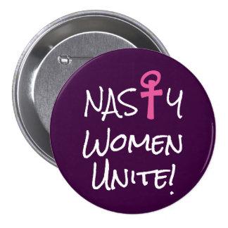 """Nasty Women Unite!""  with pink woman symbol 3 Inch Round Button"