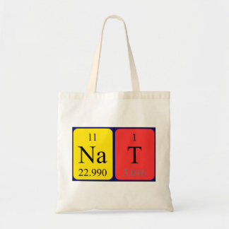 Nat periodic table name tote bag