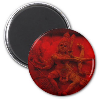 Nataraj Dancing Shiva Wall Relief Statue Red Grung 2 Inch Round Magnet