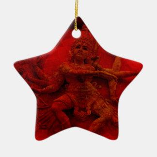Nataraj Dancing Shiva Wall Relief Statue Red Grung Ceramic Star Ornament