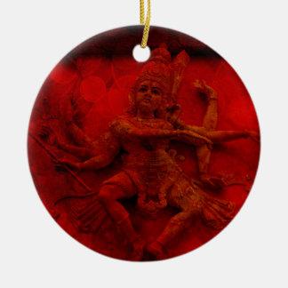 Nataraj Dancing Shiva Wall Relief Statue Red Grung Round Ceramic Ornament