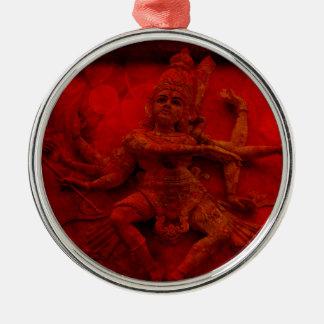 Nataraj Dancing Shiva Wall Relief Statue Red Grung Silver-Colored Round Ornament