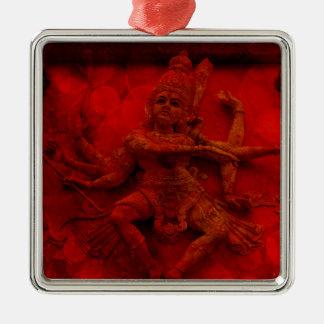 Nataraj Dancing Shiva Wall Relief Statue Red Grung Silver-Colored Square Ornament
