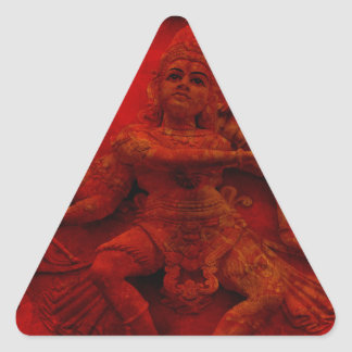 Nataraj Dancing Shiva Wall Relief Statue Red Grung Triangle Sticker