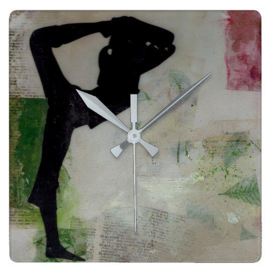 Natarajasana Yoga Girl - Square Wall Clock