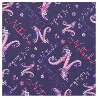 Natasha letter N monogram heart flowers fabric