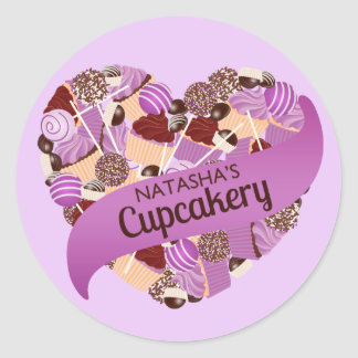 Natasha's Cupcakery Purple Stickers