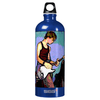 Nate and Guitar Rock On Blue Water Bottle