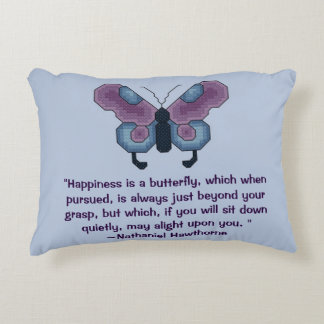 Nathaniel Hawthorne Butterfly Happiness Quote Accent Pillow