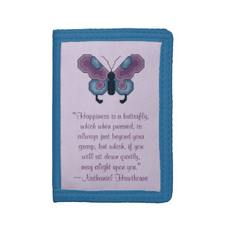 Nathaniel Hawthorne Butterfly Happiness Quote Trifold Wallets