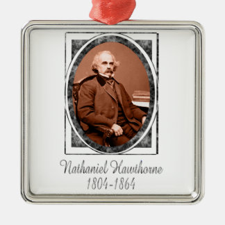 Nathaniel Hawthorne Silver-Colored Square Ornament