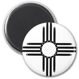 Natif américain Zia perlé Magnet Rond 8 Cm