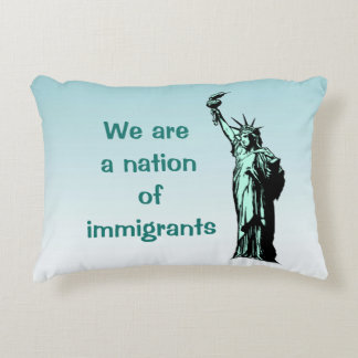 Nation of Immigrants Blue Accent Pillow