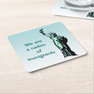 Nation of Immigrants Blue Paper Coasters