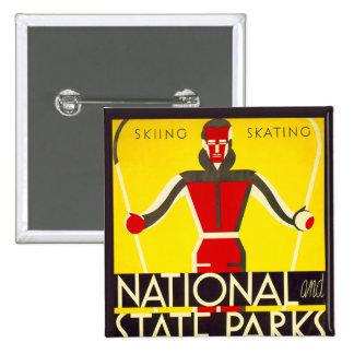 National and state parks, skiing - Dorothy Waugh 2 Inch Square Button
