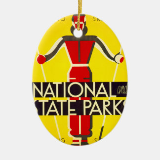 National and state parks, skiing - Dorothy Waugh Ceramic Ornament