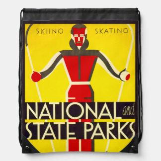 National and state parks, skiing - Dorothy Waugh Drawstring Bag