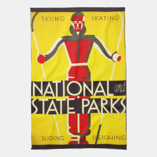 National and state parks, skiing - Dorothy Waugh Kitchen Towel