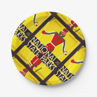 National and state parks, skiing - Dorothy Waugh Paper Plate