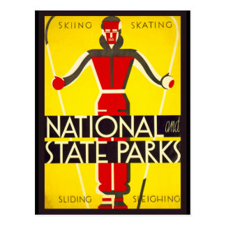 National and state parks, skiing - Dorothy Waugh Postcard