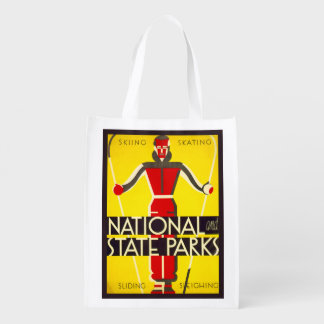 National and state parks, skiing - Dorothy Waugh Reusable Grocery Bag