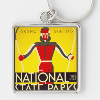 National and state parks, skiing - Dorothy Waugh Silver-Colored Square Keychain