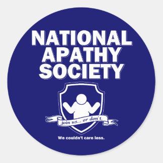 National Apathy Society Round Sticker