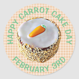 National Carrot Cake Day February 3rd Holiday Classic Round Sticker