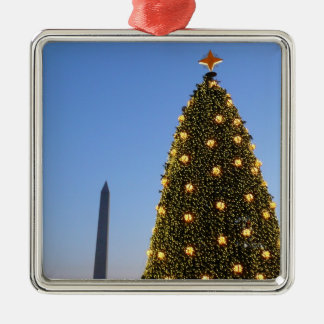 National Christmas Tree and Washington Monument Silver-Colored Square Ornament