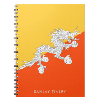 National Flag of Bhutan with Monogram Name Notebook