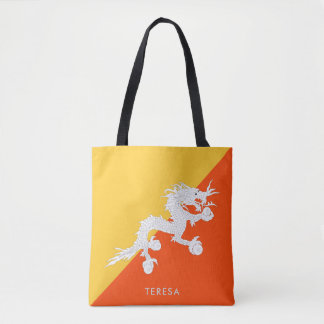 National Flag of Bhutan with Your Name Tote Bag