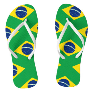 National Flag of Brazil, accurate proportion color Flip Flops