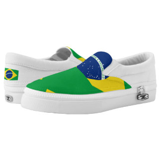 National Flag of Brazil, accurate proportion color Slip-On Sneakers