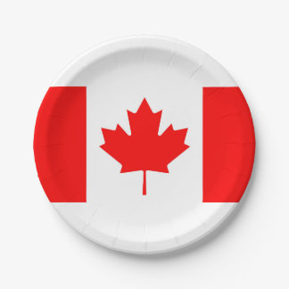 National Flag of Canada, maple leaf, high detailed 7 Inch Paper Plate