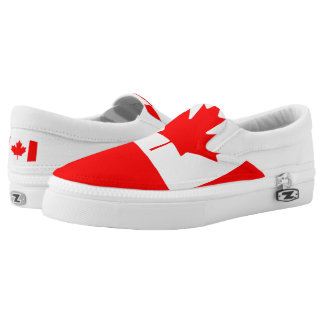 National Flag of Canada, maple leaf, high detailed Slip-On Sneakers