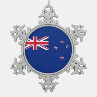 National Flag of New Zealand Snowflake Pewter Christmas Ornament