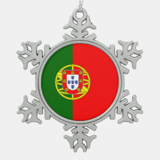 National Flag of Portugal Snowflake Pewter Christmas Ornament