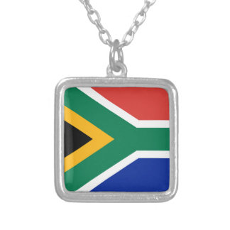 National flag of South Africa - Authentic version Silver Plated Necklace