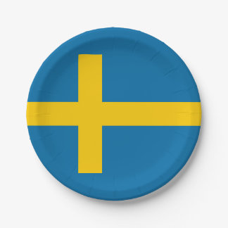 National Flag of Sweden 7 Inch Paper Plate